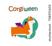 happy welsh corgi breed dog ... | Shutterstock .eps vector #708592603