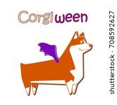 happy welsh corgi breed dog ... | Shutterstock .eps vector #708592627