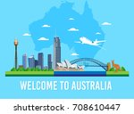 australia skyline landmark and... | Shutterstock .eps vector #708610447