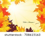 autumn background with rays of... | Shutterstock .eps vector #708615163
