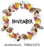 vector round frame with autumn... | Shutterstock .eps vector #708621373