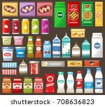 set of different products on... | Shutterstock .eps vector #708636823