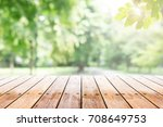 empty wooden table with party... | Shutterstock . vector #708649753