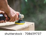 sanding machine  the carpenter... | Shutterstock . vector #708659737