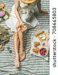 french style romantic picnic... | Shutterstock . vector #708665803