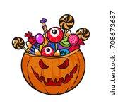 halloween pumpkin basket full... | Shutterstock .eps vector #708673687