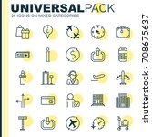traveling icons set. collection ... | Shutterstock .eps vector #708675637
