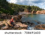 hiker taking in the views in... | Shutterstock . vector #708691603
