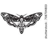 death's head hawk moth. black...   Shutterstock .eps vector #708704803