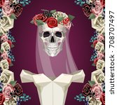 skeleton of bride with white... | Shutterstock .eps vector #708707497