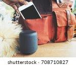 bluetooth speaker with smart...   Shutterstock . vector #708710827