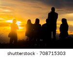 people on top of mountain | Shutterstock . vector #708715303