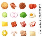 burger ingredients top view... | Shutterstock .eps vector #708723193