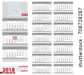 wall quarterly calendar 2018.... | Shutterstock .eps vector #708728287