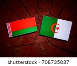 Small photo of Belarus flag with Algerian flag on a tree stump isolated