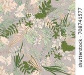 hand painted herbs seamless... | Shutterstock . vector #708741577