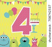 monster birthday party... | Shutterstock .eps vector #708742537