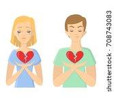 unhappy love concept. man and... | Shutterstock .eps vector #708743083