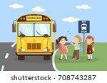 school bus with children. going ...   Shutterstock .eps vector #708743287
