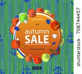 autumn sale flyer template with ... | Shutterstock .eps vector #708744457