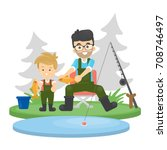 father and son fishing at the...   Shutterstock .eps vector #708746497