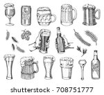 beer glass  mug or bottle of... | Shutterstock .eps vector #708751777