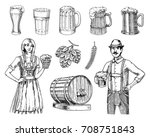 a woman and man in traditional... | Shutterstock .eps vector #708751843