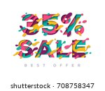 paper cut sale 35 percent off.... | Shutterstock .eps vector #708758347