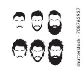 hipster vector set  hair and... | Shutterstock .eps vector #708762937