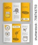 hand drawn honey flyer... | Shutterstock .eps vector #708763753