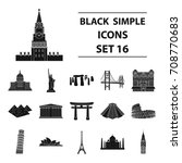 countries set icons in black... | Shutterstock .eps vector #708770683