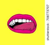 art lips pop style fashion... | Shutterstock . vector #708773707