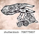 flash astronomy. inked human... | Shutterstock .eps vector #708775837