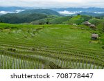pa pong piang rice terraces ...   Shutterstock . vector #708778447