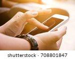 communication technology close... | Shutterstock . vector #708801847
