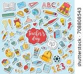 school and education doodles... | Shutterstock .eps vector #708808543