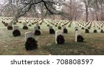 wreaths placed on graves by... | Shutterstock . vector #708808597