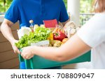 a grocery store delivery man... | Shutterstock . vector #708809047