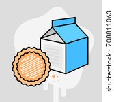 drawing of a cookie and milk in ... | Shutterstock .eps vector #708811063