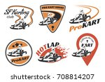 set of kart racing emblems ... | Shutterstock . vector #708814207