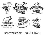 set of vintage surfing car... | Shutterstock . vector #708814693