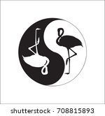 yin yang symbol. two flamingos... | Shutterstock .eps vector #708815893