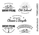 set of vintage road bicycle... | Shutterstock . vector #708816883