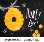 poster illustrated bee hive ... | Shutterstock .eps vector #708827407