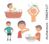 morning personal hygiene and... | Shutterstock . vector #708829117