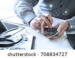 healthcare costs and fees... | Shutterstock . vector #708834727