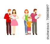 vector flat cartoon family... | Shutterstock .eps vector #708838897