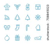 christmas icons line art set.... | Shutterstock .eps vector #708845023