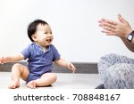 a little baby is happy playing... | Shutterstock . vector #708848167
