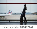young woman in the airport ... | Shutterstock . vector #708862267